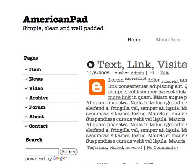 AmericanPad Blogger Template