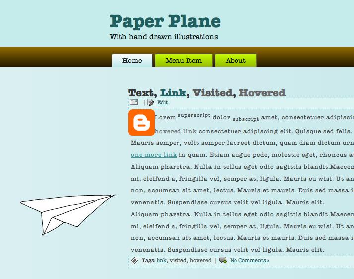 Paper Plane Blogger Template