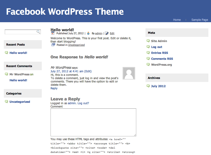 FaceBook WordPress Theme – famelook
