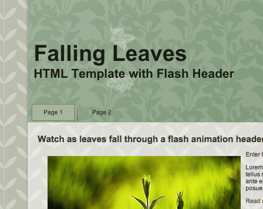 Falling Leaves HTML Flash Template