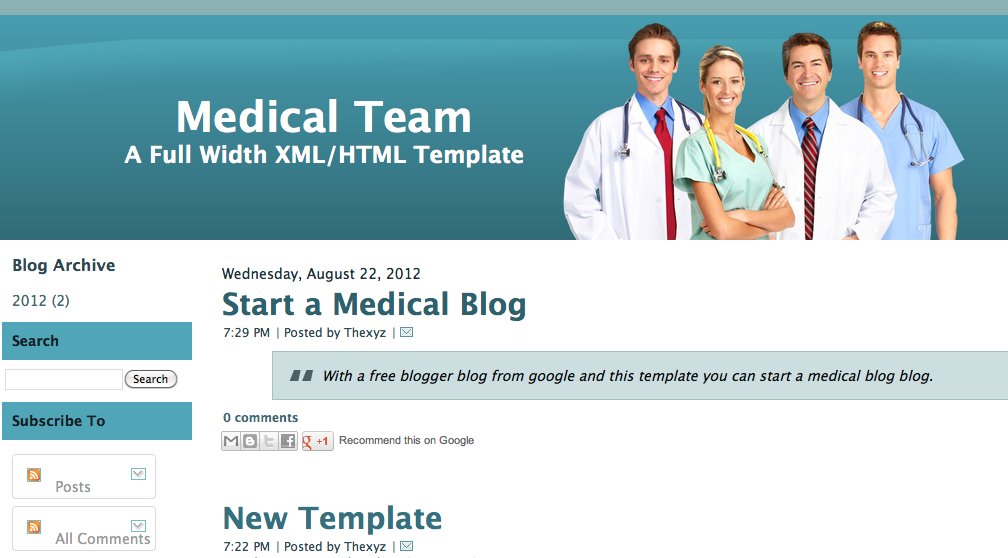 Medical Team Blogger Template