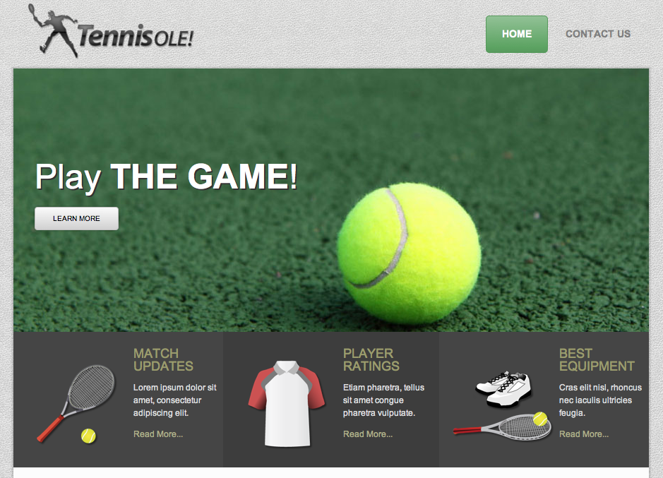 the tennis website template themedorks
