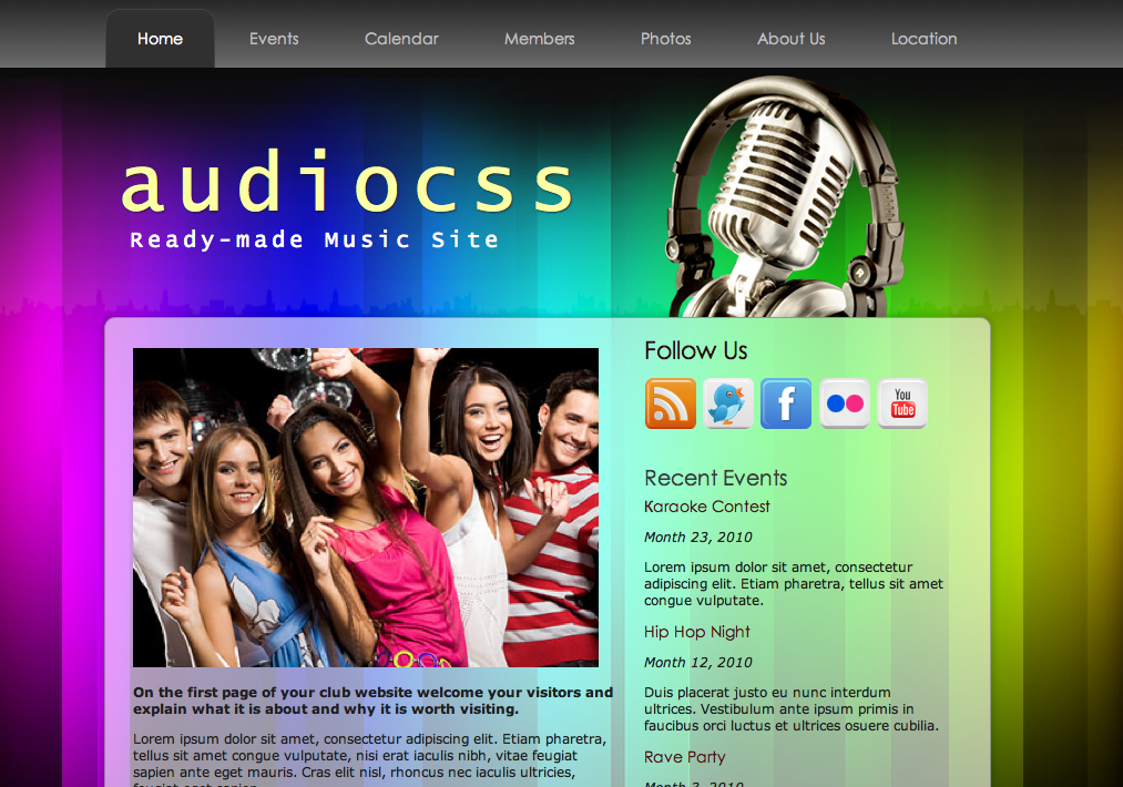 audiocss mobile friendly html template themedorks. Black Bedroom Furniture Sets. Home Design Ideas