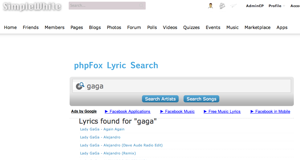 phpFox Lyric Search Add-on