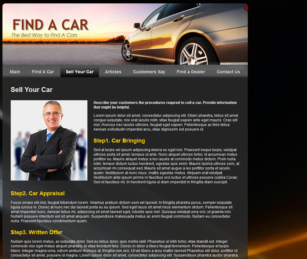Find A Car Mobile Responsive Template