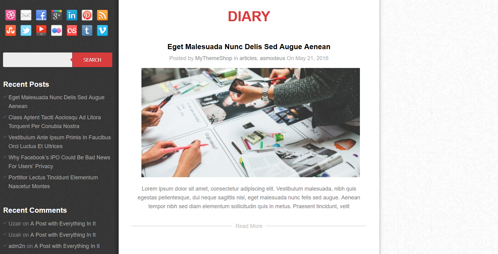 Diary is a free, pixel-perfect WordPress theme