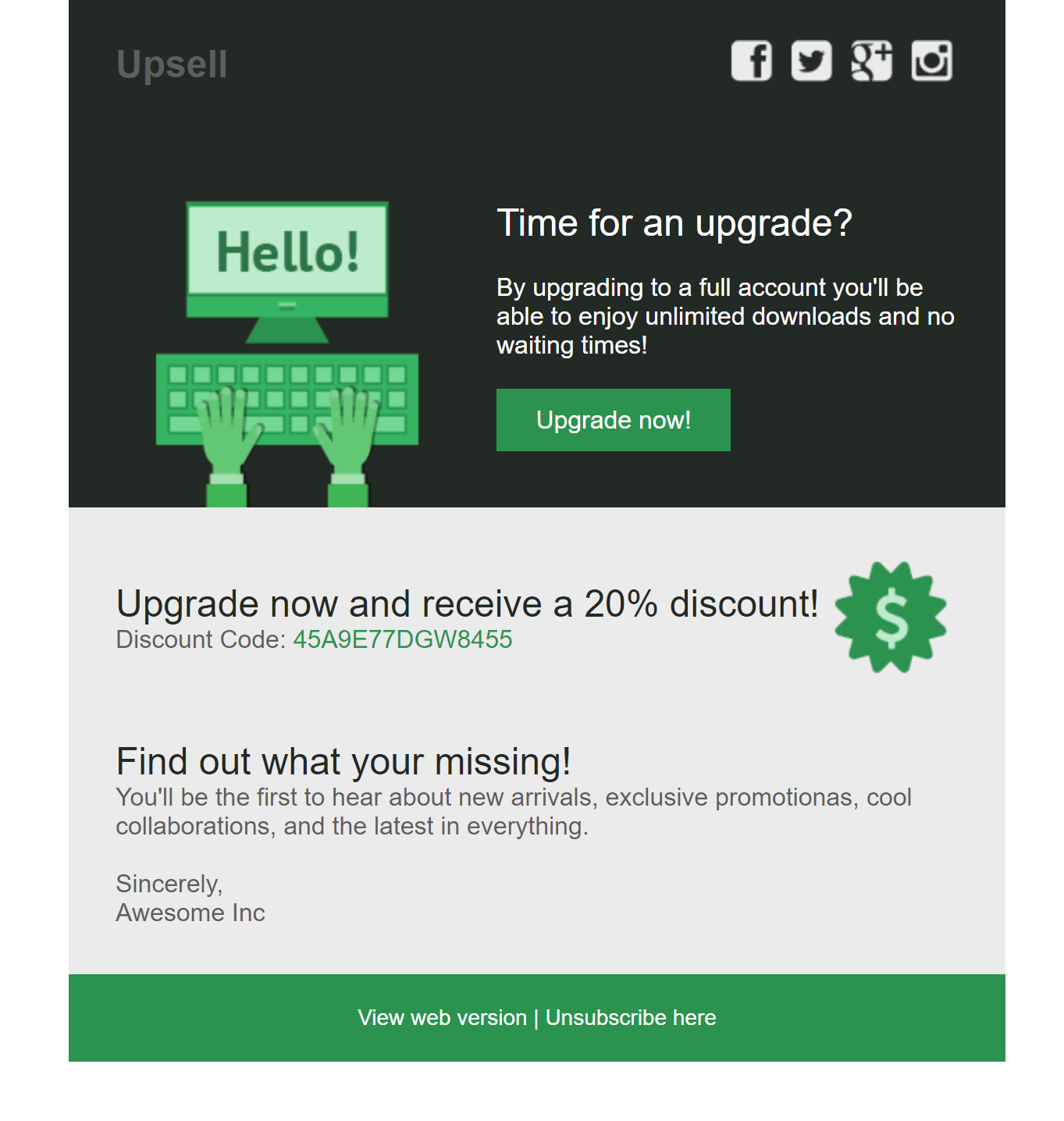 Upsell Email Template